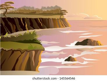 Sunset on a beach - Vector