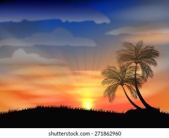 sunset on the beach.vector