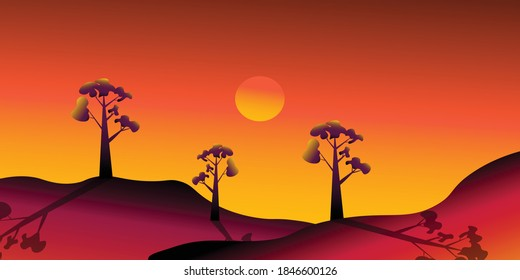 Sunset on a hill Illustration, Gradient with Sunset Color Pallete
