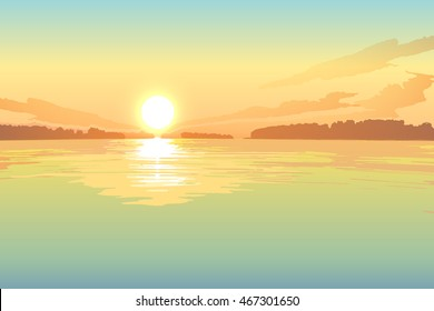 Sunset on the lake, vector landscape background.
