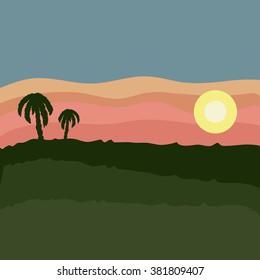 Sunset on rice field vector
