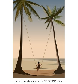 sunset on the seashore girl looks at the sea and rolls on a swing on a palm tree
