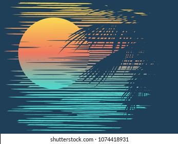 Sunset on tropical beach with palm tree. Sun on evening sea. Vector illustration.
