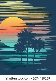 Sunset on tropical beach with palm tree. Sun over evening sea. Vector illustration.