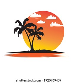 Sunset on tropical beach with palm tree. Sun on evening sea. Vector  illustration design.