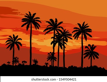 sunset on a tropical island. color illustration
