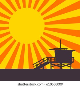 Sunset on Venice Beach, Los Angeles, California. EPS8 Vector