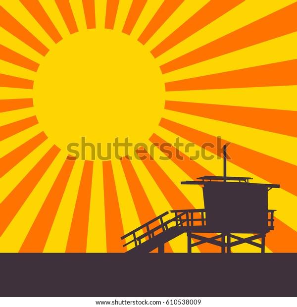 Sunset on Venice Beach, Los Angeles, California. EPS8 Vector