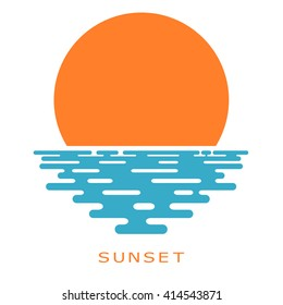 Sunset on a white background. sunset sun, icon, isolate. Flat sunset, color illustration. The sun and the sea, the sign of the nature. Sea sunset or sunrise. Stock vector