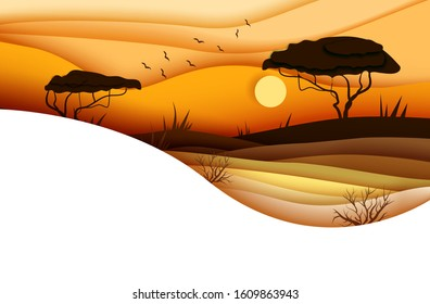 Sunset over african savannah. Africa wildlife concept design. Vector illustration in paper cut style