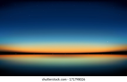 Sunset over the sea. Horizon at sunset. Vector illustration