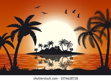 Sunset with palms at sea Hot tropical island with palm trees. vector illustration in flat design