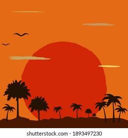 Sunset red sun in savannah, vector illustration