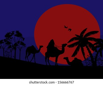 Sunset in the Sahara Desert with camels and palms, vector illustration