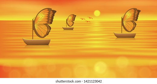 sunset, sea and boat driven butterfly