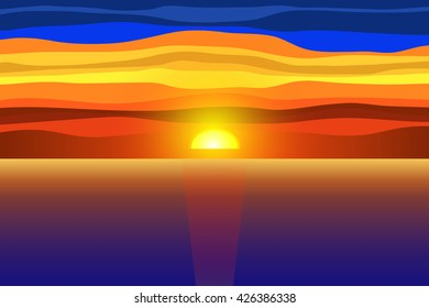 Sunset and sea. Vector illustration.