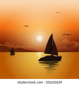Sunset at sea with yachts.  Sea voyage on the yacht.. Yachting. Vector Illustration