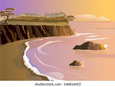 Sunset at seashore