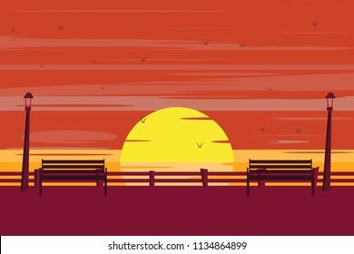sunset at seaside vector illustration