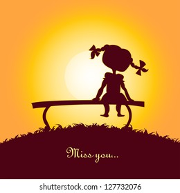 Sunset silhouette of a lonely girl. Design for card