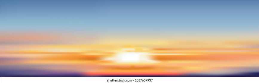 Sunset sky in evening with orange, golden and pink sky, Dramatic sunrise with colouful sky,Vector mesh horizon banner of sunrise for Spring or Summer background, Panorama natural