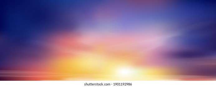 Sunset sky in evening with orange, yellow and purple colour, Dramatic twilight landscape with dark blue sky,Vector mesh horizon banner of sunrise for Spring or Summer background, Panorama natural