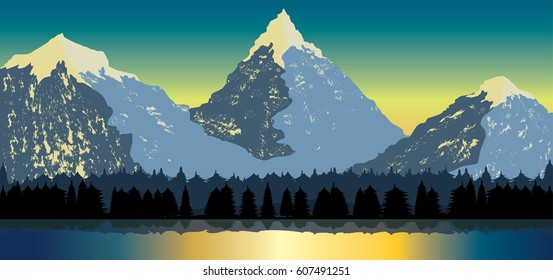 Sunset sky over mountains and valley with forest and lake vector landscape nature illustration