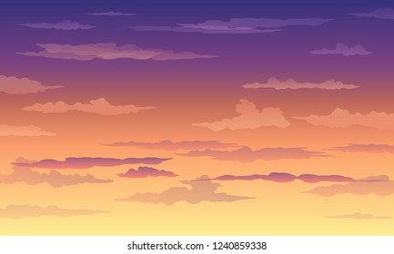 Sunset sky in yellow-violet color with clouds, gradient, landscape, background with clouds, vector illustration