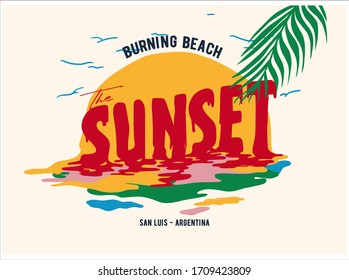 Sunset slogan with abstract sun illustration. Summer theme text with palm trees, sun vector illustration. Vector graphic for t-shirt print and other uses.