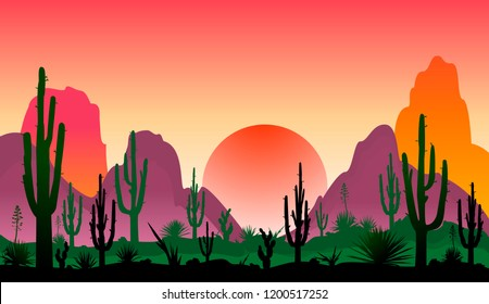 Sunset in a stony desert with cacti.  Silhouettes of stones, cacti and plants. Desert landscape with cacti. The stony desert.