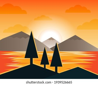 Sunset and Sundown light landscape