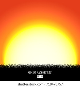Sunset or sunrise abstract background with black grass silhouette. Burning sun sets over the horizon. Evening dawning background. Vector illustration.