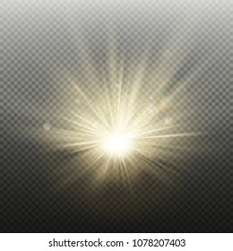 Sunset or sunrise golden glowing bright flash effect. Warm burst with rays and spotlight. Sun realistic lights template. EPS 10 vector file