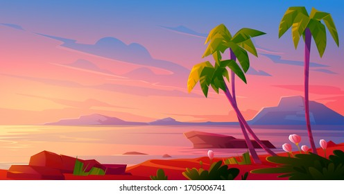 Sunset or sunrise on beach, tropical landscape with palm trees and beautiful flowers on seaside under pink cloudy sky. Evening or morning idyllic paradise, island in ocean, Cartoon vector illustration