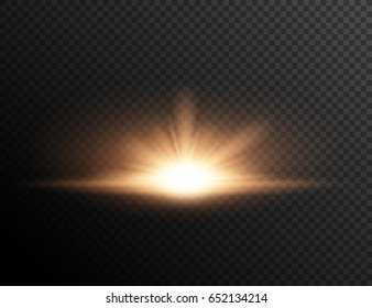 Sunset or sunrise on transparent background. LIght effect.