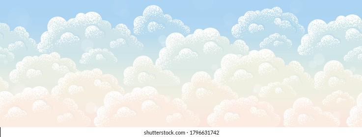 Sunset or sunrise sky and fluffy clouds with bokeh seamless stripe. Retro vector background. Vintage endless design element. Place for your text