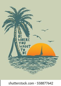 sunset. surf and beach. vintage beach print. tee graphic design
