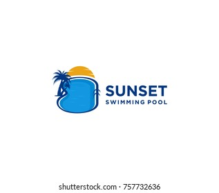 sunset swimming pool, swimming pool logo design