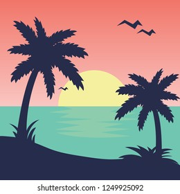 Sunset. Tropical beach. Palms. Vector illustration.