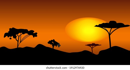 Sunset under Savana flat color vector illustration. Peaceful place with big African trees. Beautiful nature with cartoon landscape with big mountains on background