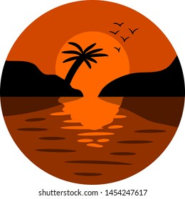 sunset vector graphic clipart design
