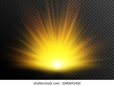 Sunset, vector light effect. Sun rays of light.
