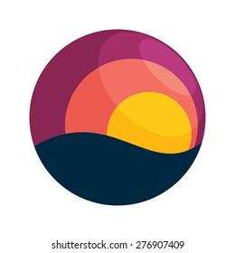 Sunset vector logo icon design template element