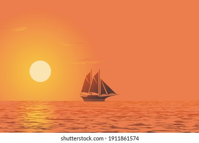 sunset view with ship silhouette concept color gradient background vector illustration