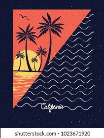 Sunset Wave Surf Palm Beach Vintage Retro California Slogan summer style vector design tropical paradise scene with palm and typography for t-shirt and apparels print, vector illustration