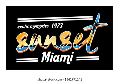 Sunset,calligraphic typography, palm tree beach , vintage style, t-shirt vector design