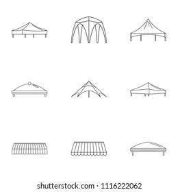 Sunshade icons set. Outline set of 9 sunshade vector icons for web isolated on white background