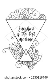 Sunshine is the best medicine quote on zentangle inspired motivational postcard design with oriental tribal ornaments.