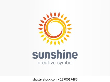 Sunshine creative symbol concept. Sunlight, solarium, sunblock cream, protection screen abstract business logo. Summer sunrise, sun rays icon. Corporate identity logotype, company graphic design