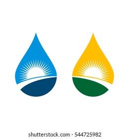 Sunshine Drop Water Logo Template